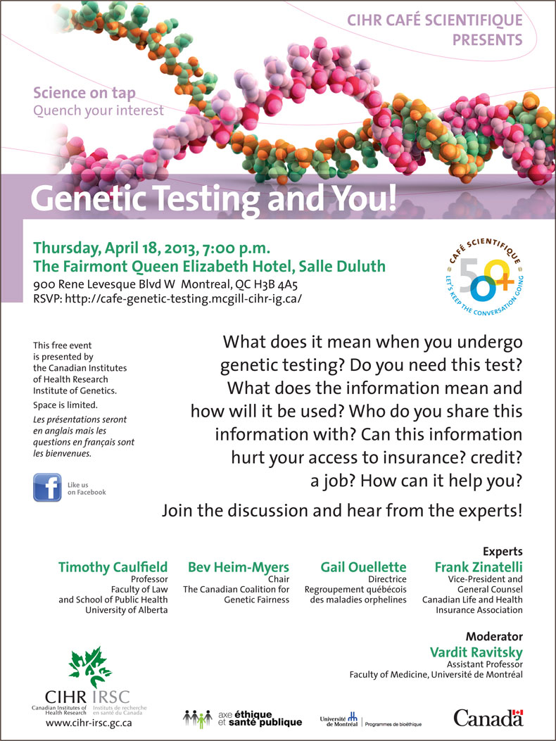 What does it mean when you undergo genetic testing? Do you need this test? What does the information mean and how will it be used? Who do you share this information with? Can this information hurt your access to insurance? credit? a job? How can it help you? Join the discussion and hear from the experts!